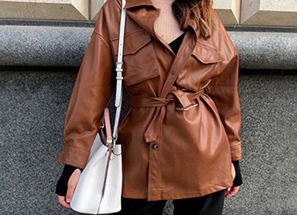 PU Leather Loose Jacket