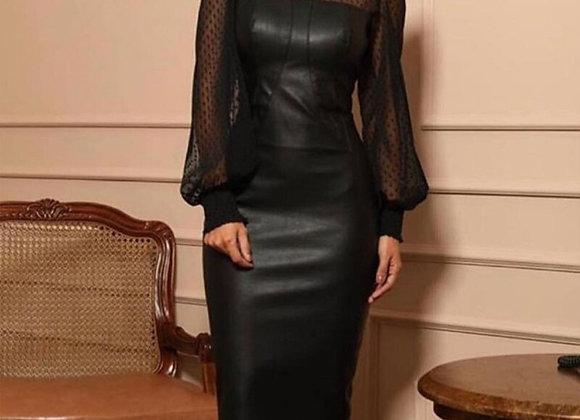 Elegant Faux Leather Mesh Long Sleeve Sexy Midi Dress