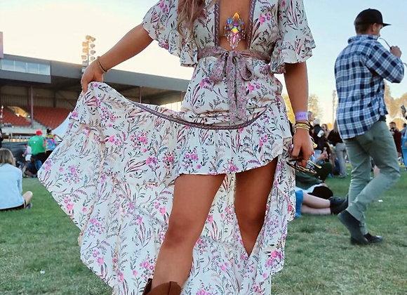 Bohemian Hippie Bat Wing Sleeve Deep V Neck Maxi Dress