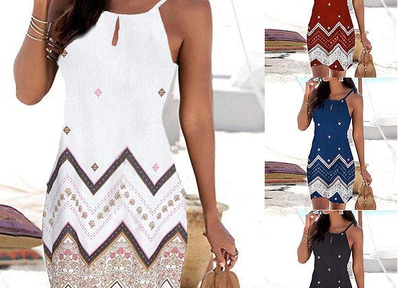 Halter Neck Sleeveless Casual Mini Dress