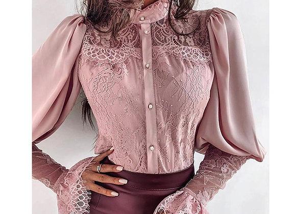 Long Sleeve  Lace Ruffle  Blouses