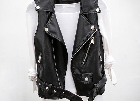 PU Leather Biker Vest