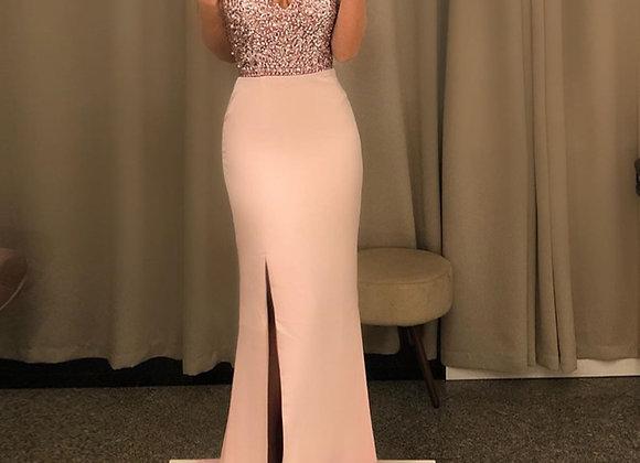 Elegant Formal Sequins Spaghetti Strap Backless High Slit Maxi Dress