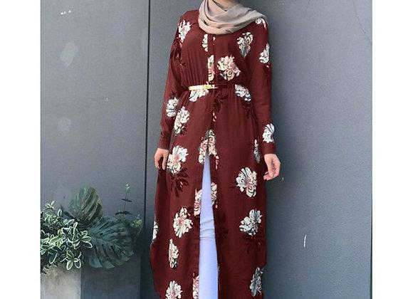 Embroidered Hijab Evening Dress