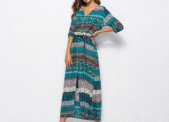 Bohemian Hippie Style  3/4 Sleeve Maxi Dress