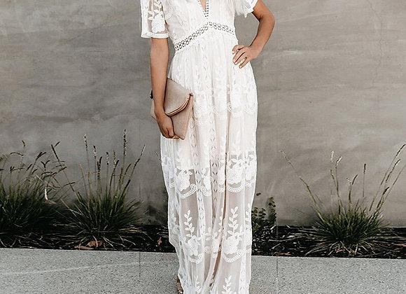 Boho Style Lace V-Neck Maxi Dress
