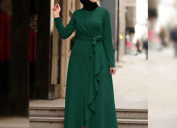 Ruffles Long Abaya with Belt