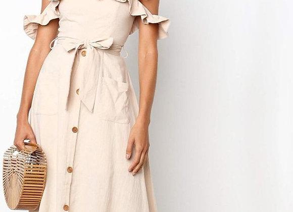 Off Shoulder Sexy A-Line Midi Dress
