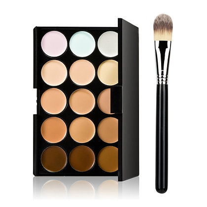 15 Colour  contour concealer palette + foundation brush