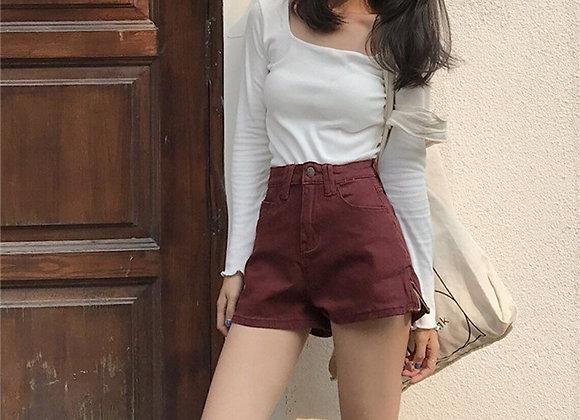Trendy Retro High Waist Skinny  Shorts