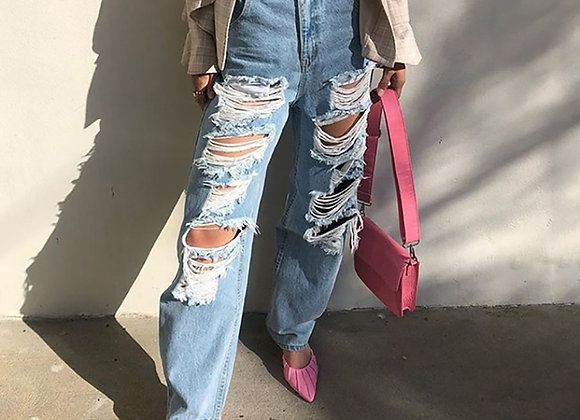 Ripped Straight Cut Loose Jeans
