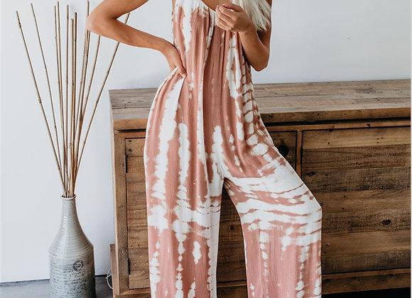 Women Sleeveless Tie-Dye Jumpsuit