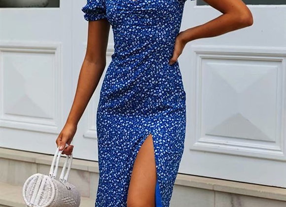 Retro Split Short Sleeve Midi Summer Dress