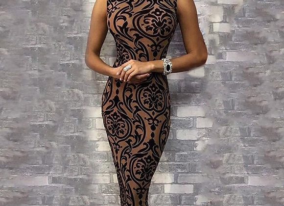 Elegant Sexy  Sleeveless O Neck Evening Party Midi Dress