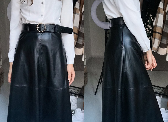 Faux Leather Long Skirt With Belt