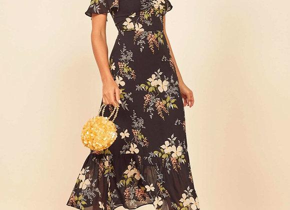 Vintage Black Floral Print French Ruffles Off Shoulder Dress