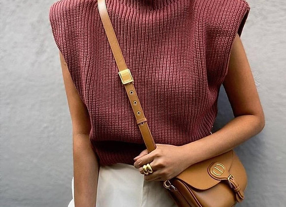 Turtleneck Sleeveless Sweater with Padded Shoulders