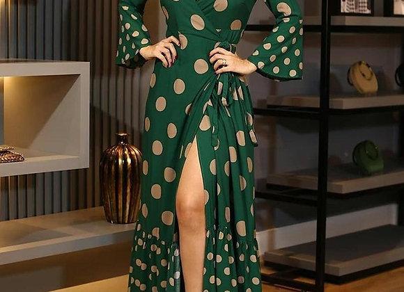 Sexy Flared Sleeve Split Maxi Dress