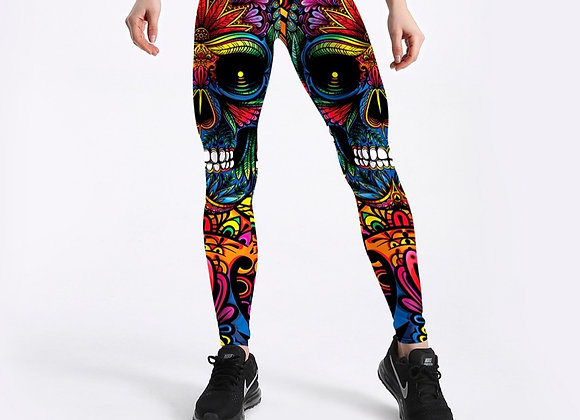 Skull & Leaf Printed Fashion Leggings