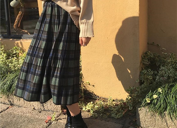 Wool Pleated Plaid Skirt