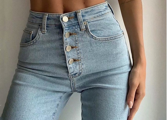 Buttons Skinny Pencil Jeans