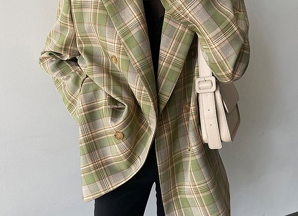 Vintage Oversize Plaid Blazer