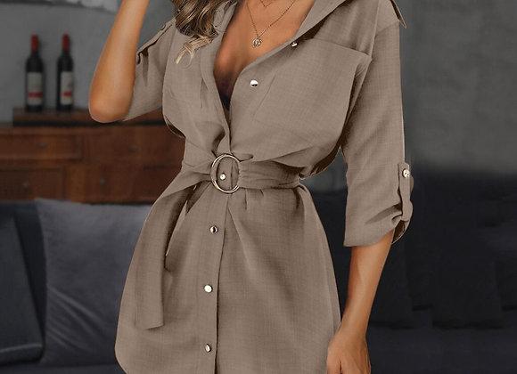 Shirt Style Button Down Long Sleeve Elegant Mini Dress With Sash Belt