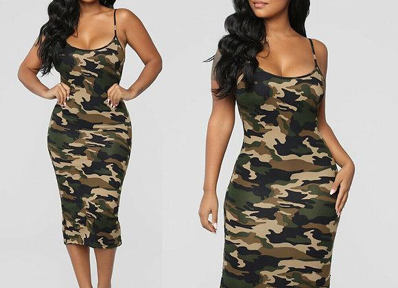 Camo Print Casual Tight Midi Dress