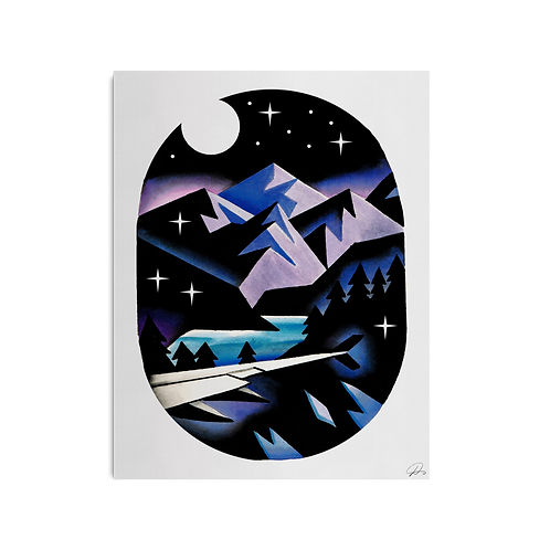 Airplane Mountains Print by David Peyote
