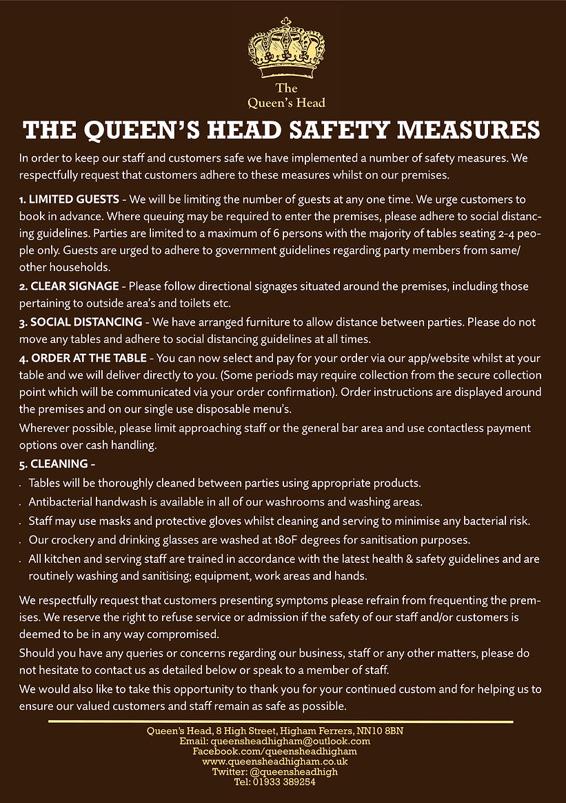 2020.07 Queens Head - Re-Opening Safety