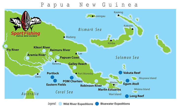 Map of Papua New Guinea Fishing Destinations