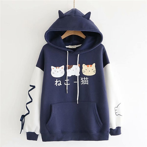 Winter Harajuku Kawaii Women Hoodies Japanese Cute Cat Graphic Girls Pullover