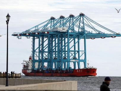 Va. port's big cranes symbolize maritime industry 'arms war'