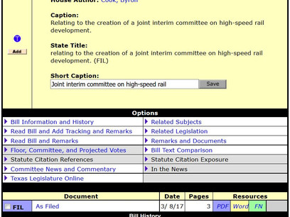 Bill Filed For Joint Interim Committee on High-Speed Rail Development!