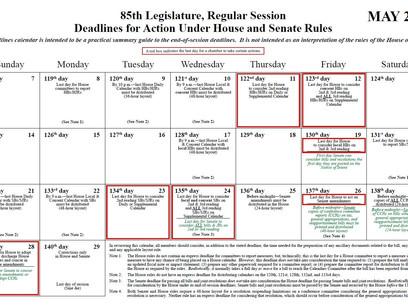 85th Legislature Deadlines for Action