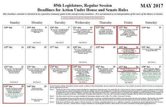 85 Legislature Deadlines for Action