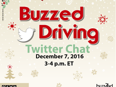 Let's Work Together to Prevent Buzzed Driving! Join us on Twitter December 7th!