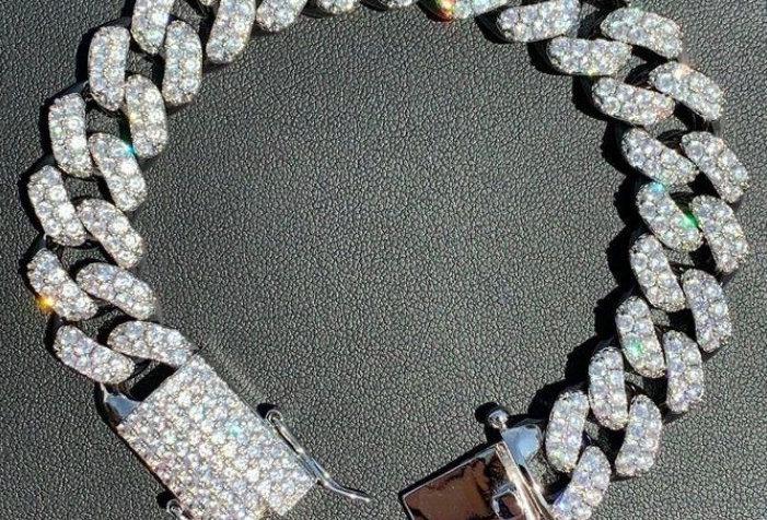 "Bracelet ""15 MM CUBAN LINK"" Moissanite - Argent 925"
