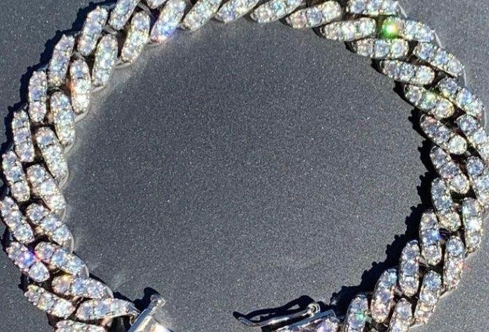 "Bracelet ""12 MM CUBAN LINK"" Moissanite - Argent 925"