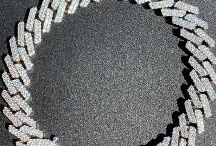 "Bracelet ""CUBAN SUPER LINK"" Moissanite - Argent 925"