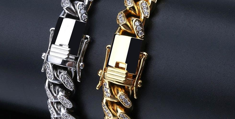 """Bracelet """"10MM FULL ICE CUBAN LINK SILVER"""""""