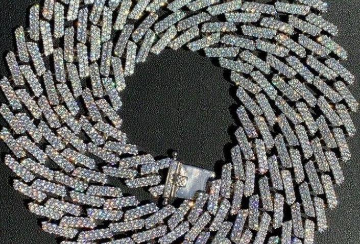 """Chaîne """"CUBAN SUPER LINK"""" Moissanite - Argent 925"""