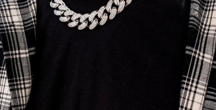 "Chaine ""20 MM FULL ICE CUBAN LINK SILVER"""