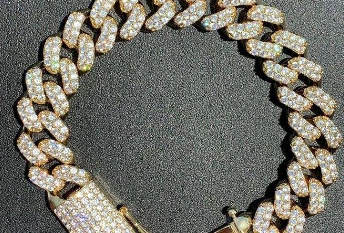 "Bracelet ""15 MM CUBAN LINK GOLD"" Moissanite - Argent 925"