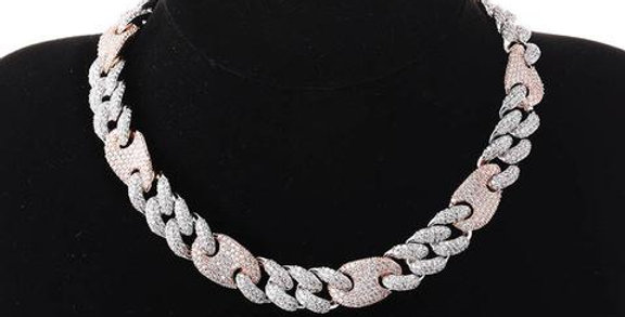 """Chaine """"16 MM CRAZY PINK CUBAN LINK"""""""