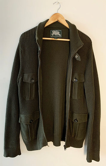 Vintage Roots Knit Military Cardigan Sweater