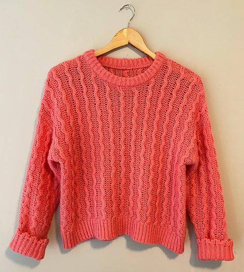 Vintage Pink Crochet Sweater
