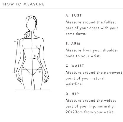 This image shows a womans body and all the right places to measure herself.