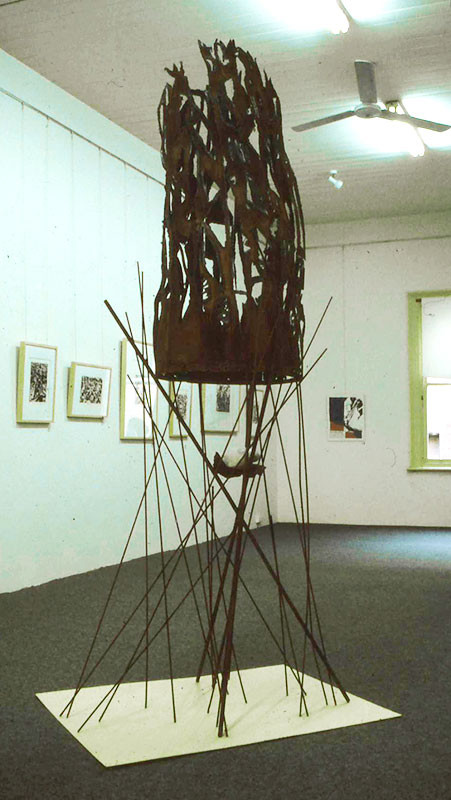 Bird in a stell cage, steel, talc, Saren Dobkins