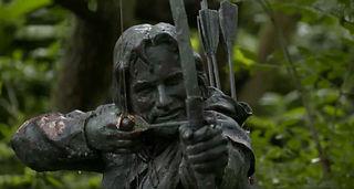 Eine Statue von Robin Hood. Gefilmt bei einer Produktion für die Öffentlich-Rechtlichen Sendeanstalten.